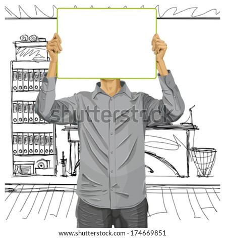 Idea concept. Vector Man with write board in his hands against his head - stock vector