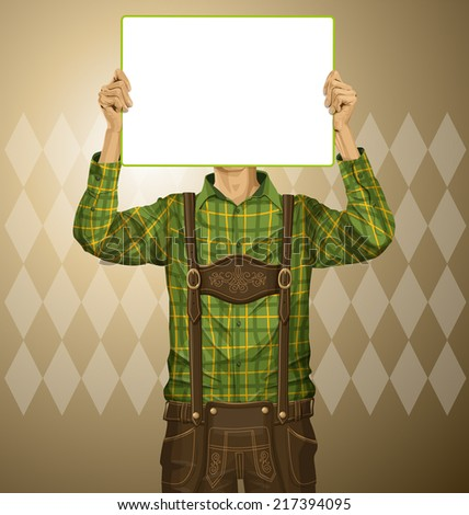 Idea concept. Vector Man with write board in lederhosen on oktoberfest - stock vector