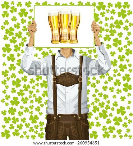 Idea concept. Vector Man with write board in lederhosen on St Patricks Day - stock vector