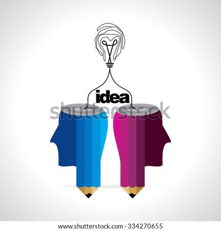 idea concept with bulb connected human head  - stock vector
