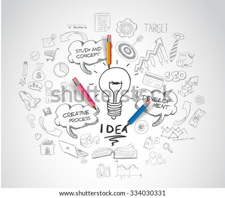 idea concept with light bulb and doodle sketches infographic icons.  - stock vector