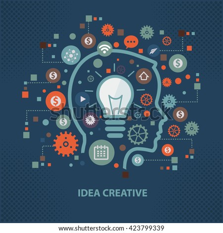 Idea,creative concept design on dark background,vector - stock vector