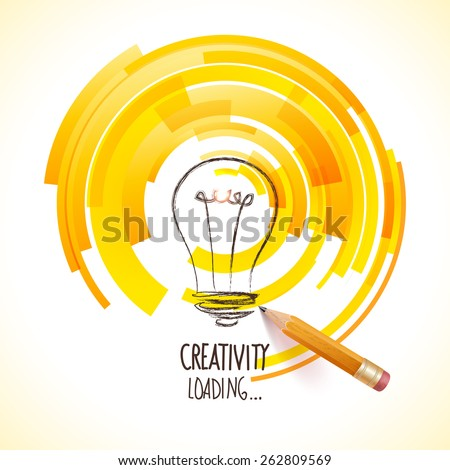 Idea. Design of progress bar, loading creativity. - stock vector