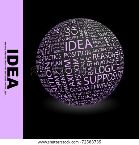IDEA. Globe with different association terms. Wordcloud vector illustration. - stock vector