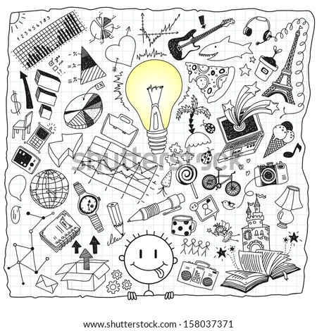 idea hand-drawn doodles - stock vector