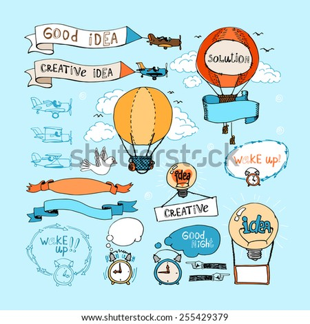 Idea hand-drawn elements. Vector bulbs, airplanes, balloons and alarm clocks  in blue sky. Ribbon banners  - stock vector