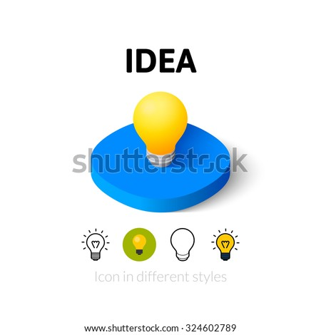 Idea icon, vector symbol in flat, outline and isometric style - stock vector