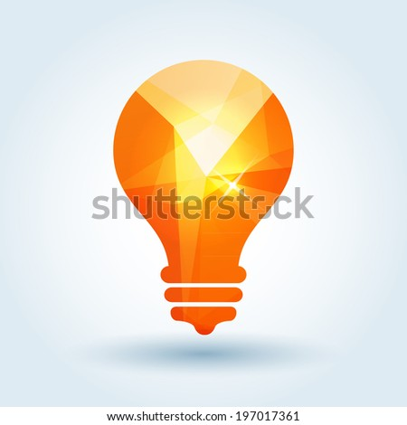 Idea icon with modern triangle pattern - stock vector