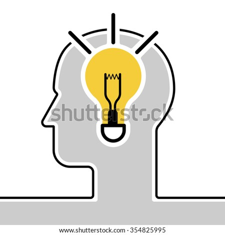 Idea in human head, success human solution, lightbulb lamp, eureka in problem solving. Modern style logo vector illustration concept line icon with flat design element - stock vector