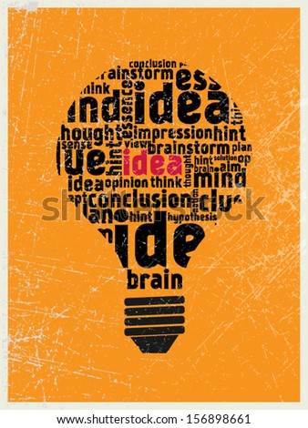 Idea in the light bulb poster - stock vector
