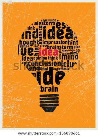 Idea in the light bulb poster - stock vector