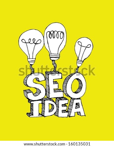 idea inspired bulb Seo Idea SEO Search Engine Optimization - stock vector