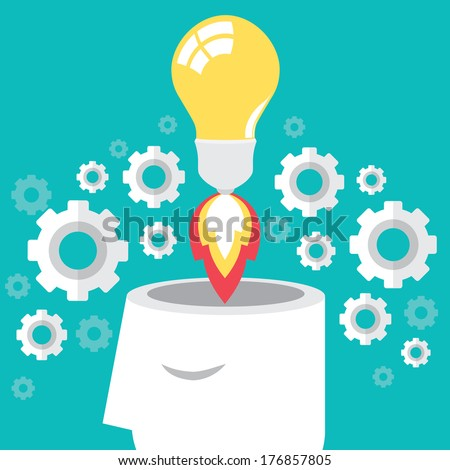 Idea launch rocket with form head, Creative start, Vector illustration. - stock vector