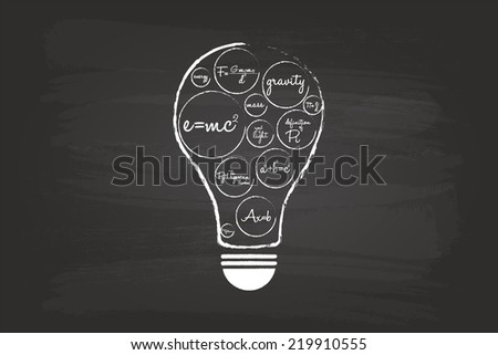 Idea Light Bulb Concept With Mathematical Equation On School Blackboard - stock vector
