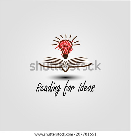 idea light over open book vector design template - stock vector