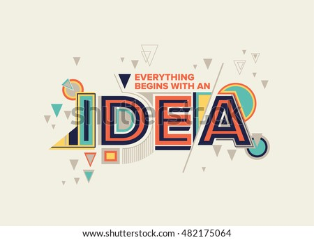 Idea modern typography design geometrical style stock vector 482175064 shutterstock - Creative digital art ideas for your home ...
