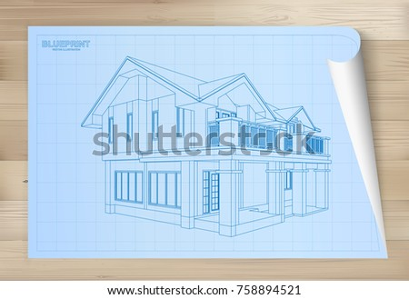 Paper house plan dimension lines blueprint stock illustration idea of house on blueprint paper architectural drawing paper on wooden texture background vector malvernweather Image collections