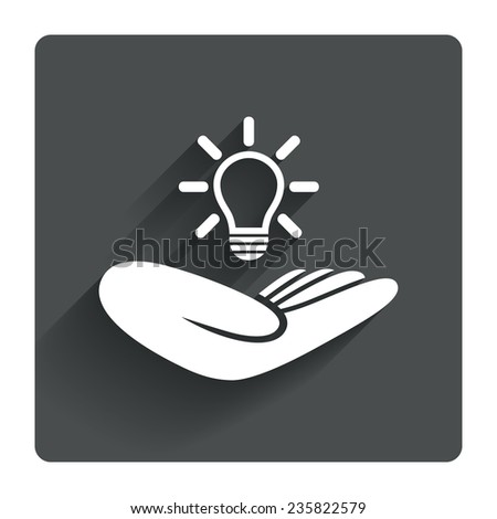 Idea patent insurance sign. Hand holds lamp bulb symbol. Intellectual Property. Gray flat square button with shadow. Modern UI website navigation. Vector - stock vector