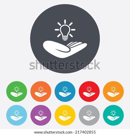 Idea patent insurance sign. Hand holds lamp bulb symbol. Intellectual Property. Round colourful 11 buttons. Vector - stock vector