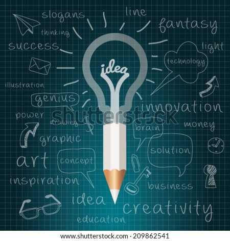 Idea, Pencil with Light bulb with drawing business success strategy plan, Inspiration modern design concept  template workflow layout. Vector Illustration Easy editable for Your design. - stock vector