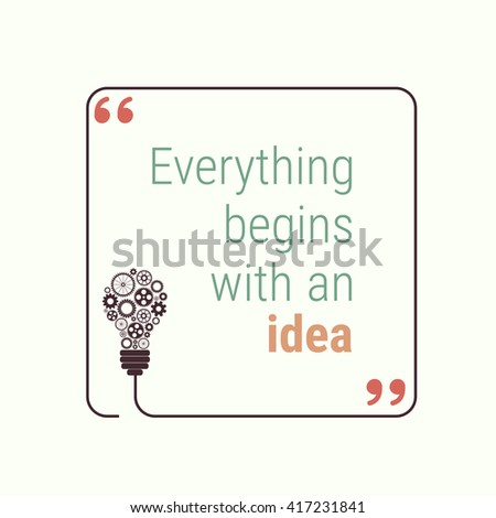 idea quote with light bulb with gears. concept of big ideas inspiration innovation, invention, effective thinking. text. outline. Vector for your design - stock vector