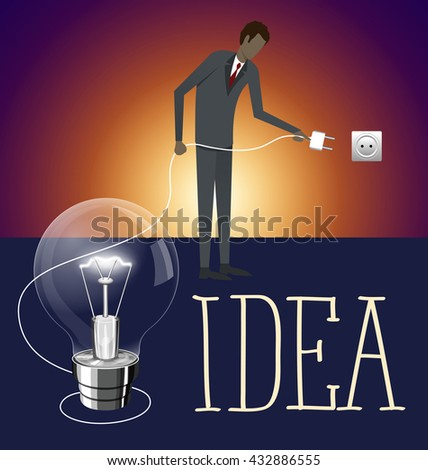 Idea research flat isometry business startup experiment concept vector illustration. Businessman lighting big lamp abstract electronic device - stock vector