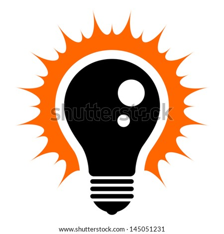 Idea! Simplified illustration of a glowing light bulb (EPS 8) - stock vector