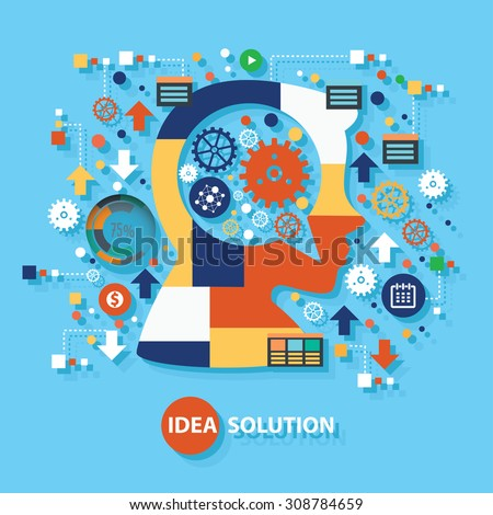 Idea solution concept design on blue background,clean vector - stock vector