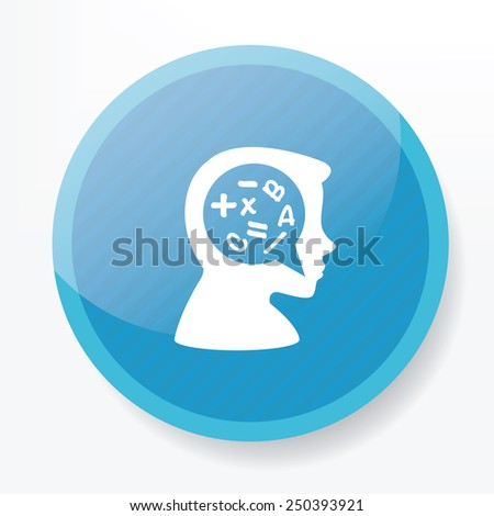 Idea symbol design on blue button,clean vector - stock vector