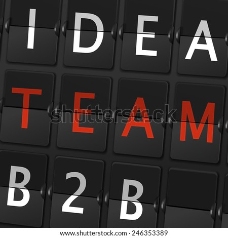 idea team B2B words on airport board background - stock vector