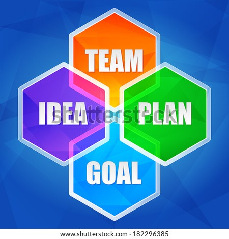 idea, team, plan, goal - business growth concept words in color hexagons over blue background, flat design, vector - stock vector