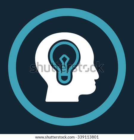 Idea vector icon. Style is bicolor flat rounded symbol, blue and white colors, rounded angles, dark blue background. - stock vector