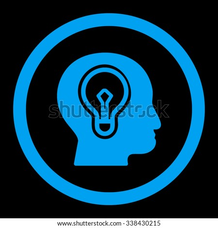 Idea vector icon. Style is flat rounded symbol, blue color, rounded angles, black background. - stock vector