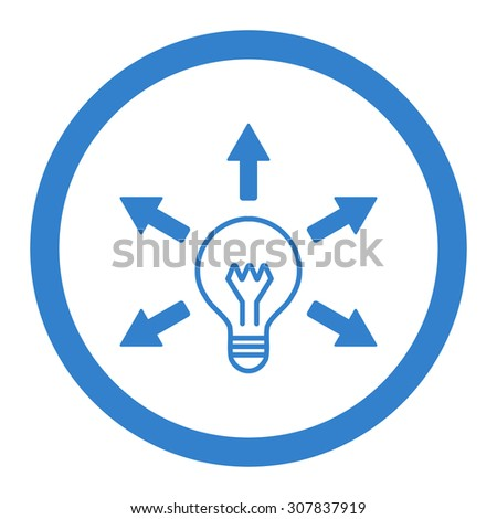 Idea vector icon. This rounded flat symbol is drawn with cobalt color on a white background. - stock vector