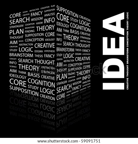 IDEA. Word collage on black background. Illustration with different association terms. - stock vector