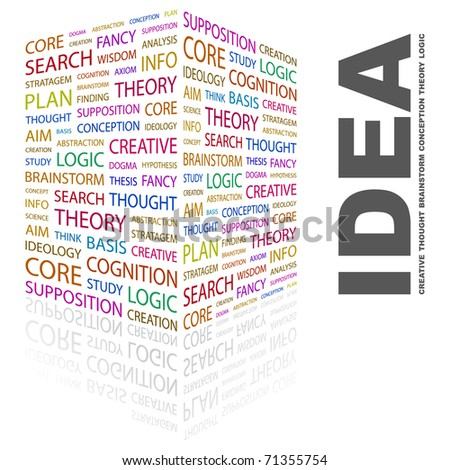 IDEA. Word collage on white background. Vector illustration. Illustration with different association terms. - stock vector