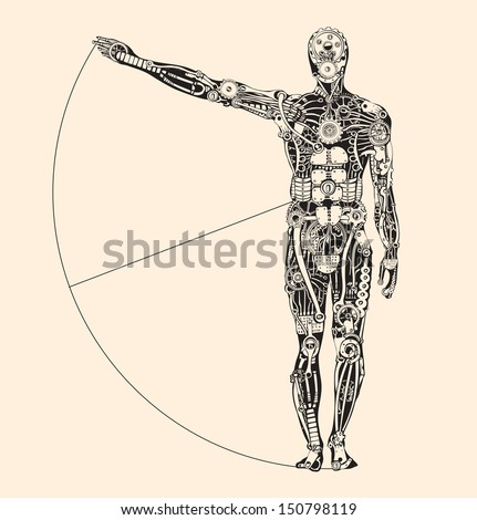 Ideal human proportion that governs the universe. The making of Humans. - stock vector