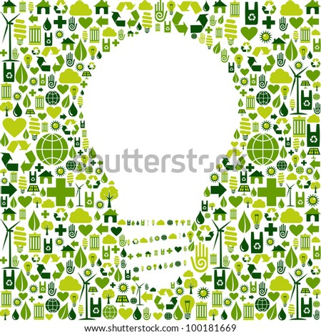 Ideas about eco friendly actions. Green icons in light bulb symbol shape background. Vector file available.