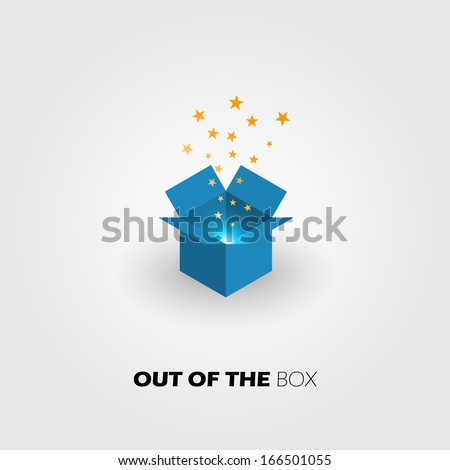 Ideas out of the box icon, innovate business concept, vector design.  - stock vector