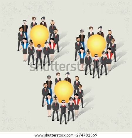 Ideas teamwork,businessman design on old background,clean vector - stock vector