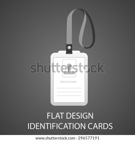 identification card with a photo, pass in the flat style - stock vector