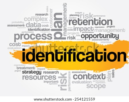 Identification word cloud, business concept - stock vector