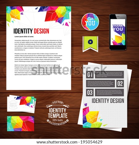 Identity design for Your business, geometric style. Set of blanks, business card, leaflet, mobile app, sticker. Vector illustration.