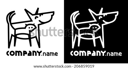 identity icon with dog and cat - stock vector
