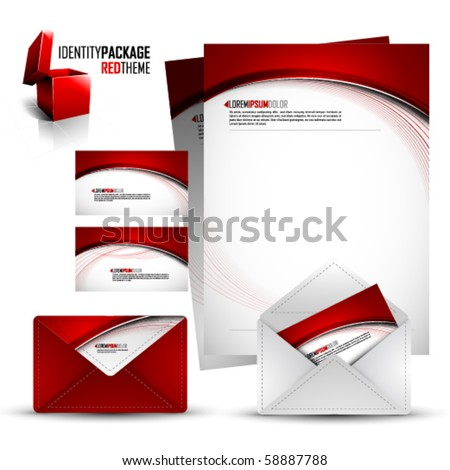 Identity Kit | Red Package | EPS10 Compatibility needed | All elements are on separate layers named accordingly - stock vector