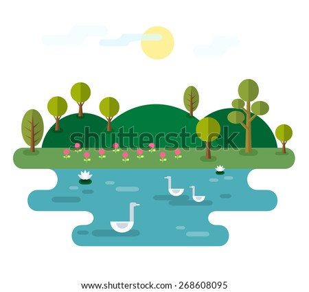 Idyllic landscape with lake. Illustration with Nature scene, with hills, trees, pond with water lilies and swans. Elements useful for infographics. Trendy flat style. Vector file is EPS8. - stock vector
