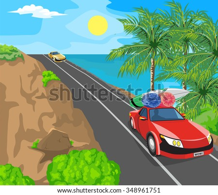 Idyllic seascape. The sun, blue sky and a wide road with mountains. - stock vector