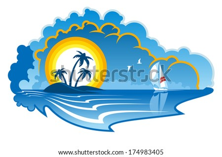 Idyllic tropical island with palm trees and a yacht or sailboat on summer vacation, travel or cruise industry design - stock vector