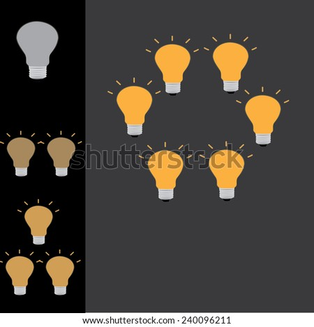if one ideas equal non good idea .if  many ideas equal good idea - stock vector