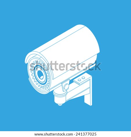 Ifrared white cctv icon with shadow. Isometric 3d view - stock vector